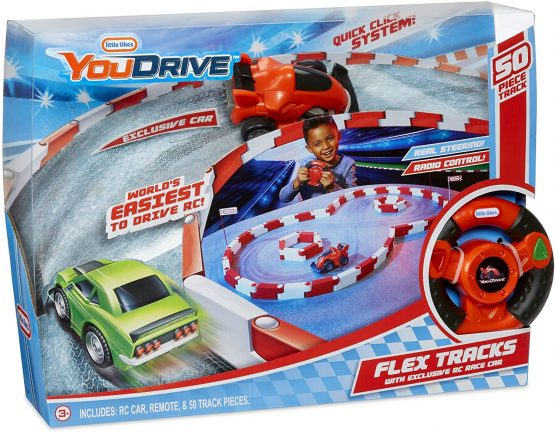 Little Tikes YouDrive Flex Tracks Red Race Car w/ Easy Steering RC, Multicolored