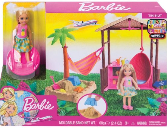 """Barbie Chelsea Doll and Tiki Hut Playset with 6 """" Blonde Doll, Swing House"""