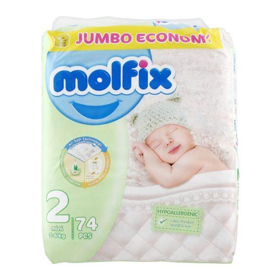 Molfix No. 2 Diapers, Mini 3-6 KG, Jumbo Economy, 74-Pack